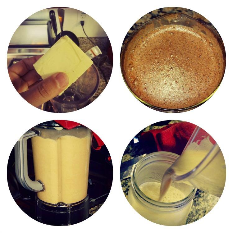 Процесс приготовления энергетического напитка из кофе и сливочного масла