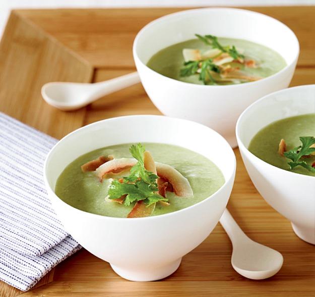 Пряный суп-пюре с авокадо и огурцом